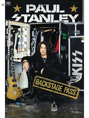 PAUL STANLEY SIGNED book Backstage Pass All Access Guide KISS Photo Proof COA
