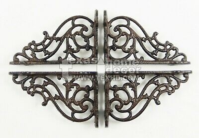 4 Small Shelf Brackets Scrolls Cast Iron Brace Antique Style 5 1/4 x 3 1/4 inch