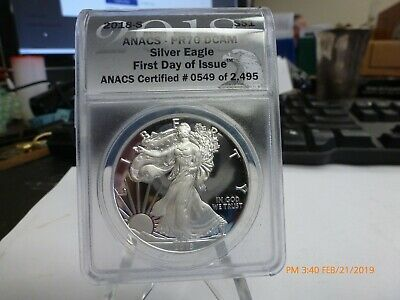 2018 S Proof American Silver Eagle ANACS PR 70 DCAM First Day Of Issue