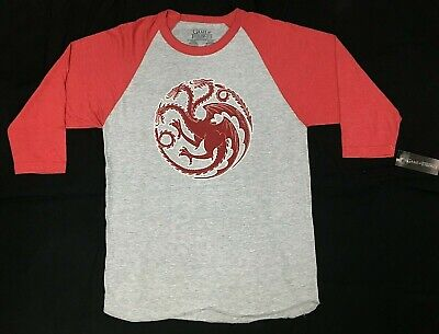 Game Of Thrones HOUSE TARGARYEN SIGIL Raglan T-Shirt NWT Licensed & Official