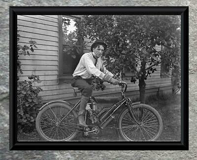 Classic...Man Riding 1900's Reading Standard Motorcycle  Antique 5x7 Photo Print