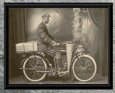 Fantastic... Early Indian Motorcycle Baudette Minnesota. Antique 5x7 Photo Print
