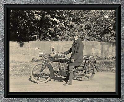 Classic...  Young Man Riding Early Indian Motorcycle . Antique 5x7 Photo Print