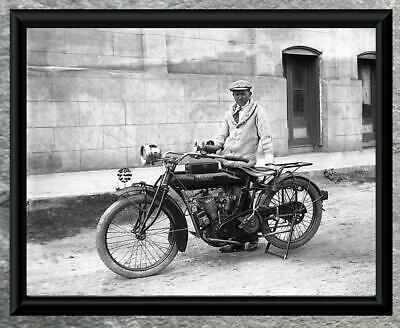 Classic... Man Riding Early Indian Motorcycle . Antique 5x7 Photo Print