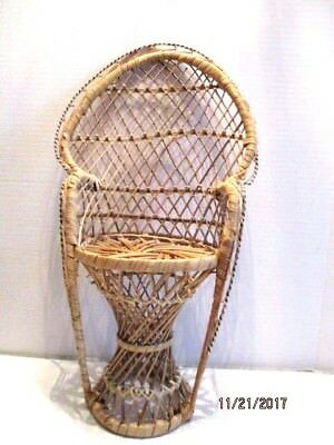 Doll Furniture Tall Natural Wicker High Back Display Chair for Dolls/Bears/Etc.