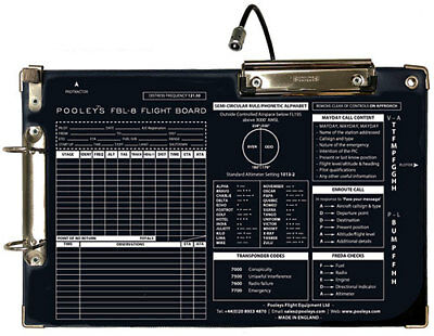 FBL-8 Kneeboard with LED flexible Torch *Ideal for Night Flying*
