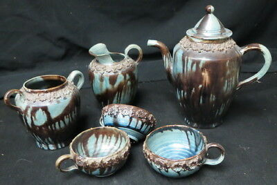 possibly 1700's pottery teapot & misc pieces / very old unusual glaze unmarked