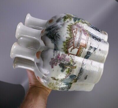 19th/20th Century Chinese Porcelain Famille Rose Conjoined Vases Signed
