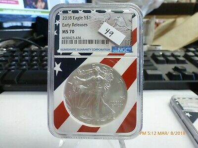 2018 NGC MS 70 Early Releases American Silver Eagle Flag Label 436