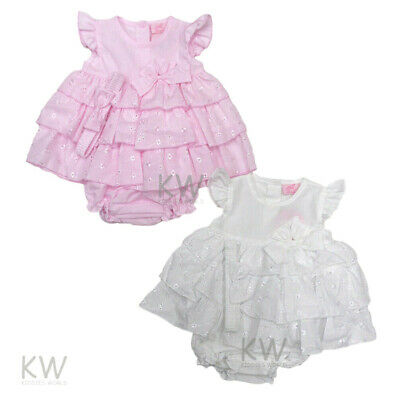 Baby Girls Clothes Spanish Romany Style Dress & Pants Set Pink Broderie Anglaise