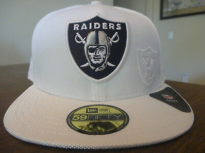 02a80ee8c Oakland Raiders New Era 59Fifty Nfl 2016 Sideline White Fitted Hat Size 7  5 8