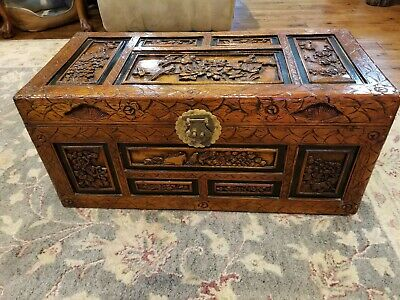 Chinese Hand Carved  ANTIQUE WOODEN Chest/Trunk