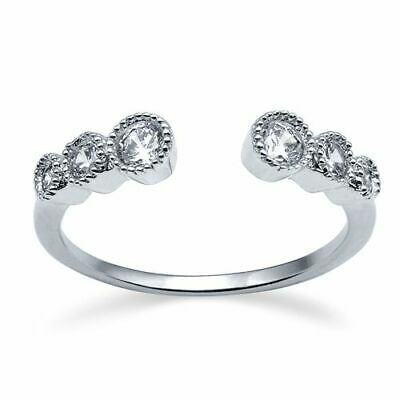 STACKING Ring 925 Solid Sterling Silver Clear Stones Open Design Band Size 6