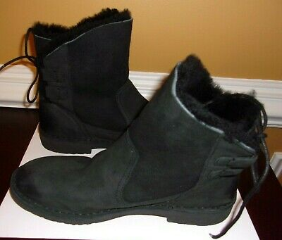 e4c351f08f4 UGG NAIYAH 1019164 Black Leather Back Lace Ankle Boots Womens 10.5
