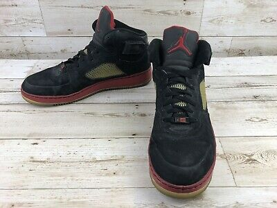 cc1aa69d7d72 Nike Air Jordan Fusion 5 AJF Black Sneakers Men s Size 13 Red Shoes 318608 -062