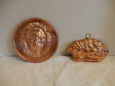 Vintage Copper -1 Lion's Head Plaque And 1 Sheep Mold