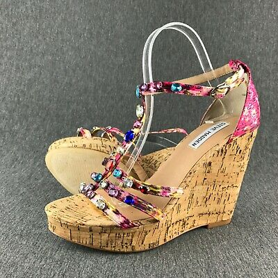 947281d5fb206 Womens Size 9.5 Steve Madden Faara Multi-Floral Cork Wedges Sandals