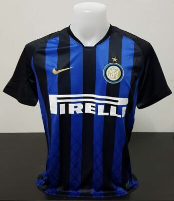 low priced 1fe02 0515f INTER MILAN FC Home T-shirt 2018 2019 Jersey Football Soccer Nike Black Blue