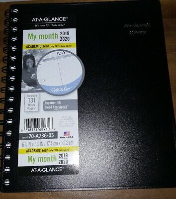 At Glance My Month Academic Year 2019-2020 Brand New 70-A736-05 New!!!