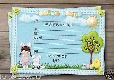 1-10  Boys & Girls Easter Party, Egg Hunt Invitations Or Thank You Cards