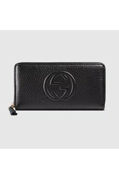 3d8119df07b Gucci Soho Black Leather Wallet Zip around Box Continental Authentic Italy  New