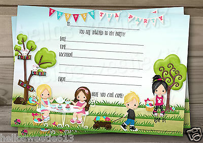 1-10 Easter Tea Party Birthday Party Invitations & Envelopes
