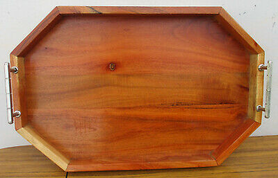 Beautiful Wooden Vintage Serving Tray, With Metal Handles.  Made In India