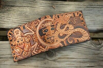 Mens Aztec Bifold Wallet- Handmade / Hand tooled / Genuine Leather / Made in USA
