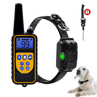 Training Shock Dog Collar with Remote Pet Anti Bark Rechargeable Waterproof LED