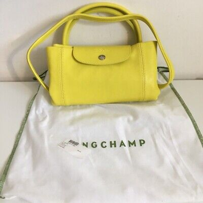 a13be1ed1cc4 NEW!!  565 LONGCHAMP Medium Le Pliage Cuir Leather Tote Yellow ...