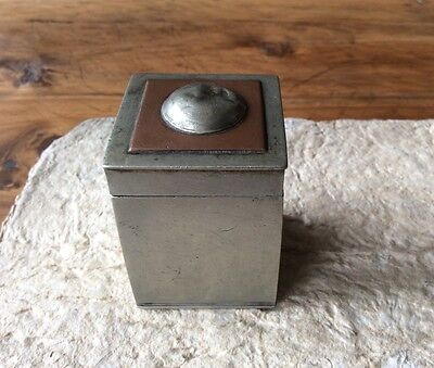 19th century Chinese antique white bronze opium container with copper and silver