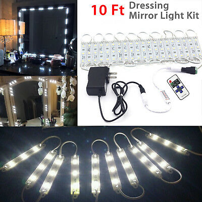10FT White Dressing Mirror Lighted Cosmetic Makeup Vanity LED Light Remote Power