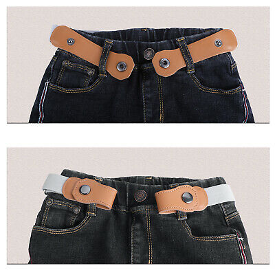 Adjustable Children No Buckle Elastic Jeans Belt Buckle Free Waistband Belts Hot