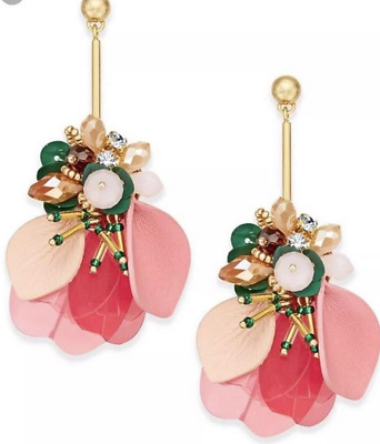 e52c12fb74377 KATE SPADE VIBRANT Life Stud Earrings Floral Pink Crystals Flowers ...