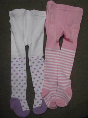 Bnip Baby Girls 2 X  Tights Stockings Size 00 - 1 White Pink Stripes Lilac Dot