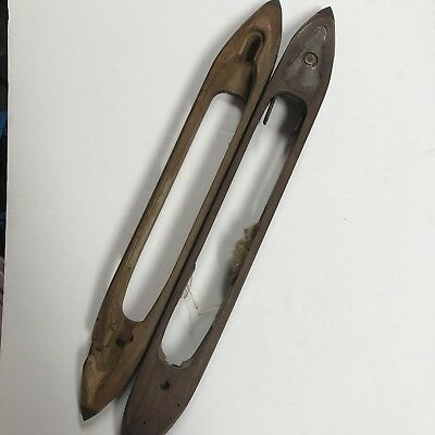"ANTIQUE WOODEN  WEAVING BOAT SHUTTLES Set of 2 - 17"" and 16"""