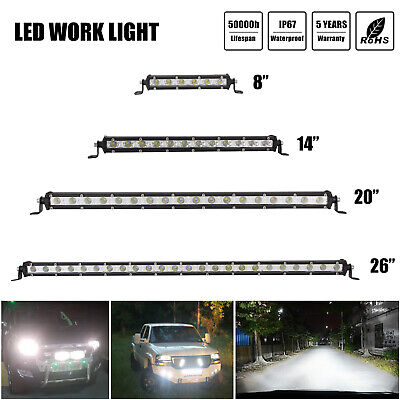 Slim LED Work Light Bar Flood/Spot /Combo Beam For Offroad 4WD 8/14/20/26inch