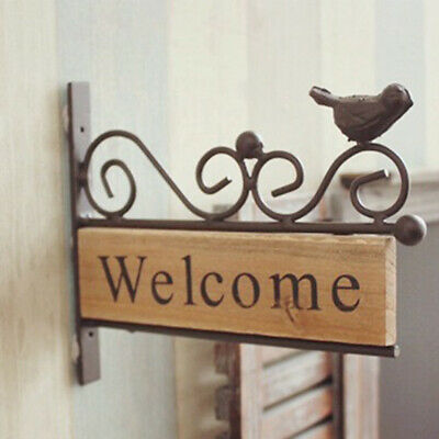 Retro House Restaurant Bar Wood Door Decor Welcome Plaque Iron Sign Bird N7