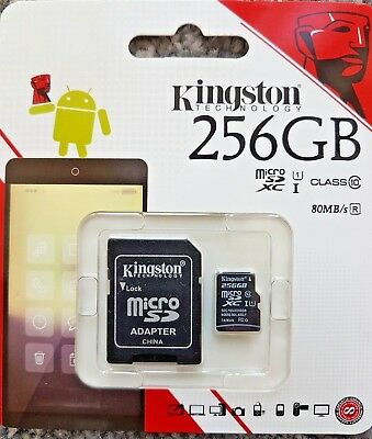 Kingston 256gb Micro SD Card SDXC SDHC Class 10 (45MB/s) UHS I with adapter