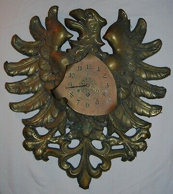 Rare Victorian Large German Eagle Wood Carved Brass Covered Pendulum Wall Clock