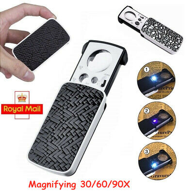 LED Pocket Magnifier Glass Magnifying 30/60/90X Jewellers With UV Light