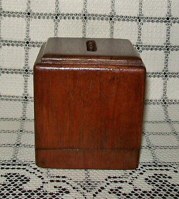 SMALL VINTAGE HAND CRAFTED WOOD MONEY BOX slide-out base 7.5x7.5x8cm