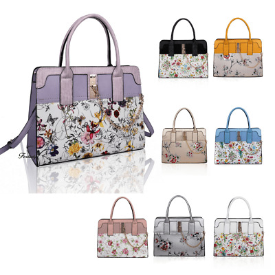 Womens Floral Print Chain Clip Fashion Handbag Shoulder Tote Shopper Hobo Bag