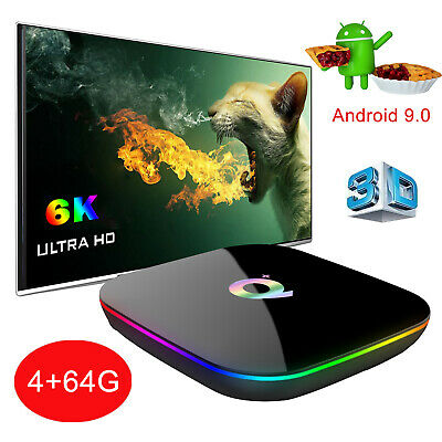 2019 6K 3D Android 9.0 4+64G Q plus Quad Core Hot Smart TV Box WIFI Media Player