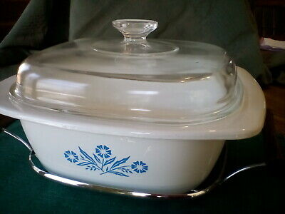 Vintage Corning Ware Cornflower Blue Dutch Oven P34B with  Metal rack