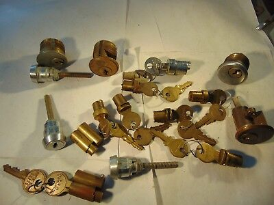 15   Vintage  Mortise , Rim And Ether  Locks Cylinders Some With Key   Locksmith