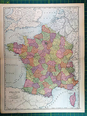 France - Original Vintage 1898 Antique Large Folio Rand McNally World Atlas