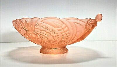 !!RARE!! SAMUEL REICH ART DECO 1930s LARGE PINK ANGELS BOWL | DEPRESSION GLASS