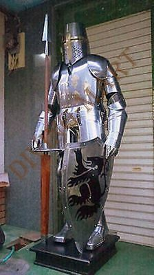 Armour Knight Crusader Full Suit Of Armor Collectible Costume With Base
