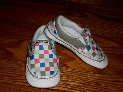 400cd75ea1a75 Vans Classic Slip-On Checker gray PINK White Canvas Size 4 Baby Crib Shoes  EUC